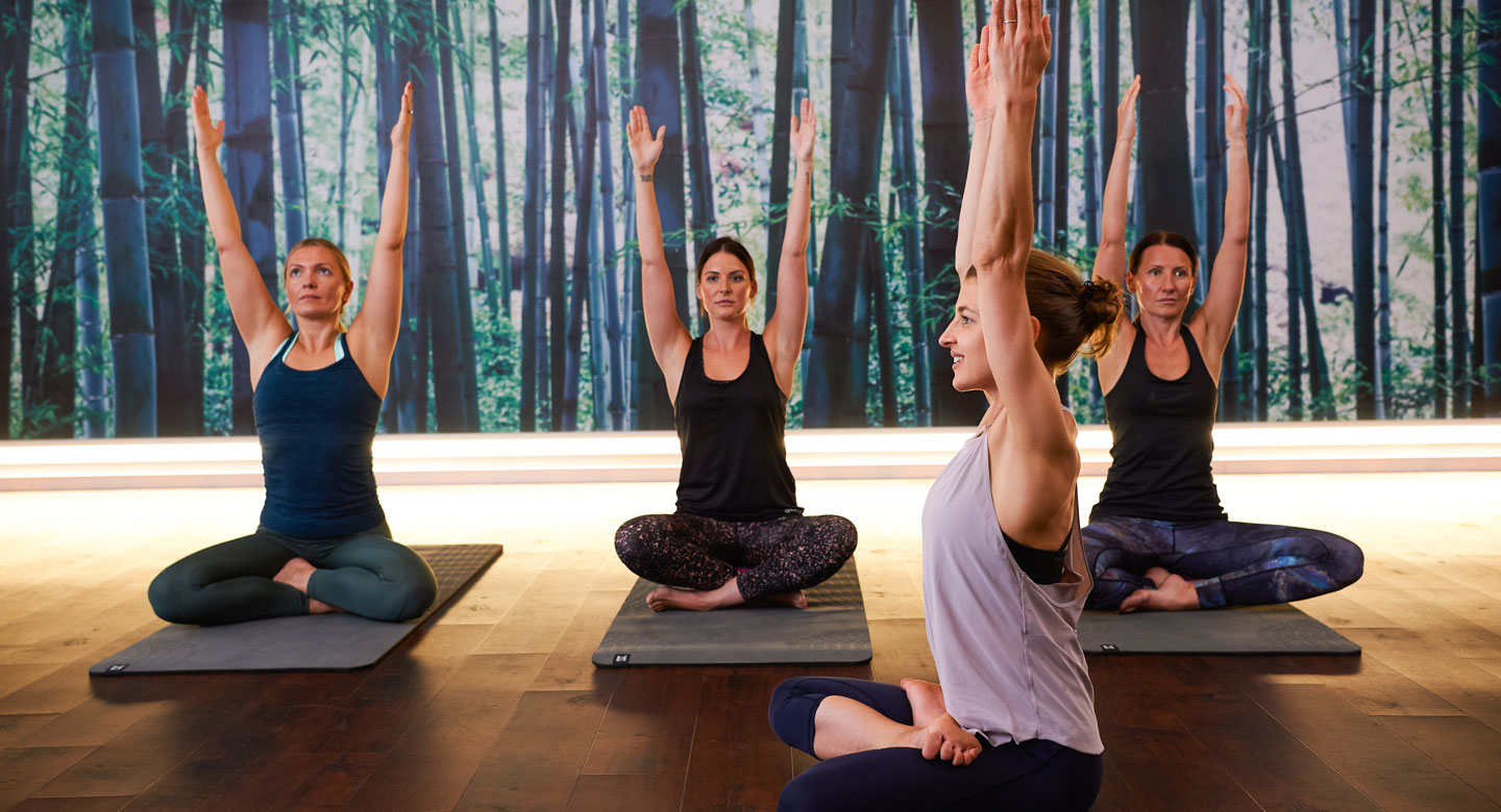 Image of a yoga class taking place at David Lloyd Chigwell