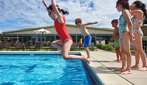 Pool family jumping