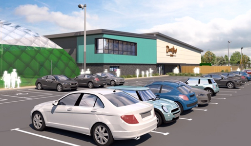 Render of outside of Emersons Green Club and Car Park