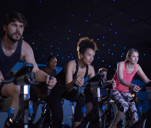 Image of a group cycling class at David Lloyd Clubs