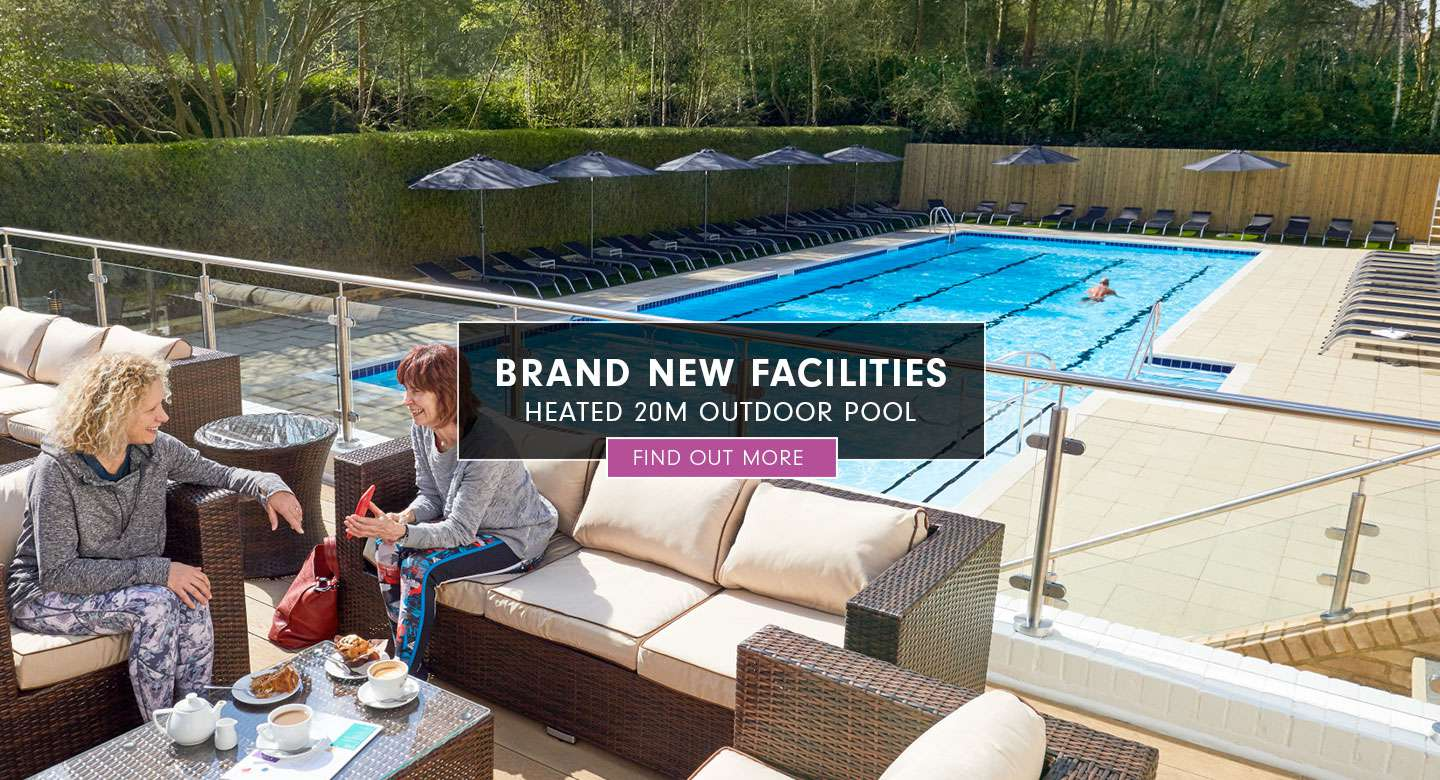 Image of the outdoor pool at David Lloyd Royal Berkshire with a CTA overlayed