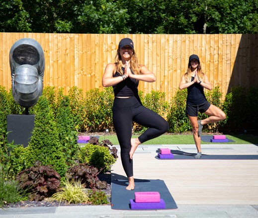 image of outdoor yoga class