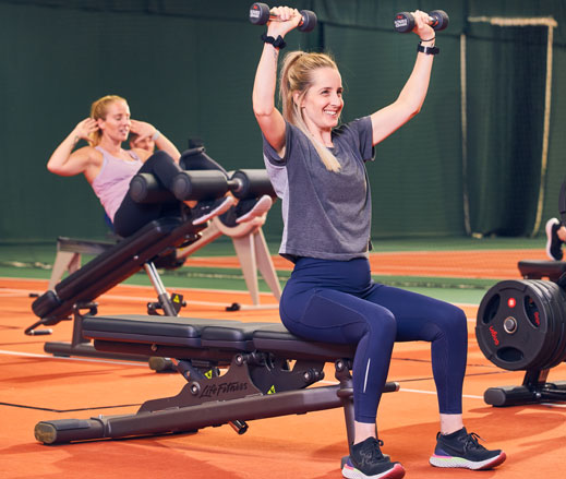 Image of women working out in temporary David Lloyd gym