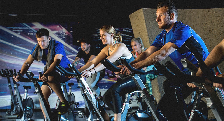 Image of group cycling class at David Lloyd Amsterdam