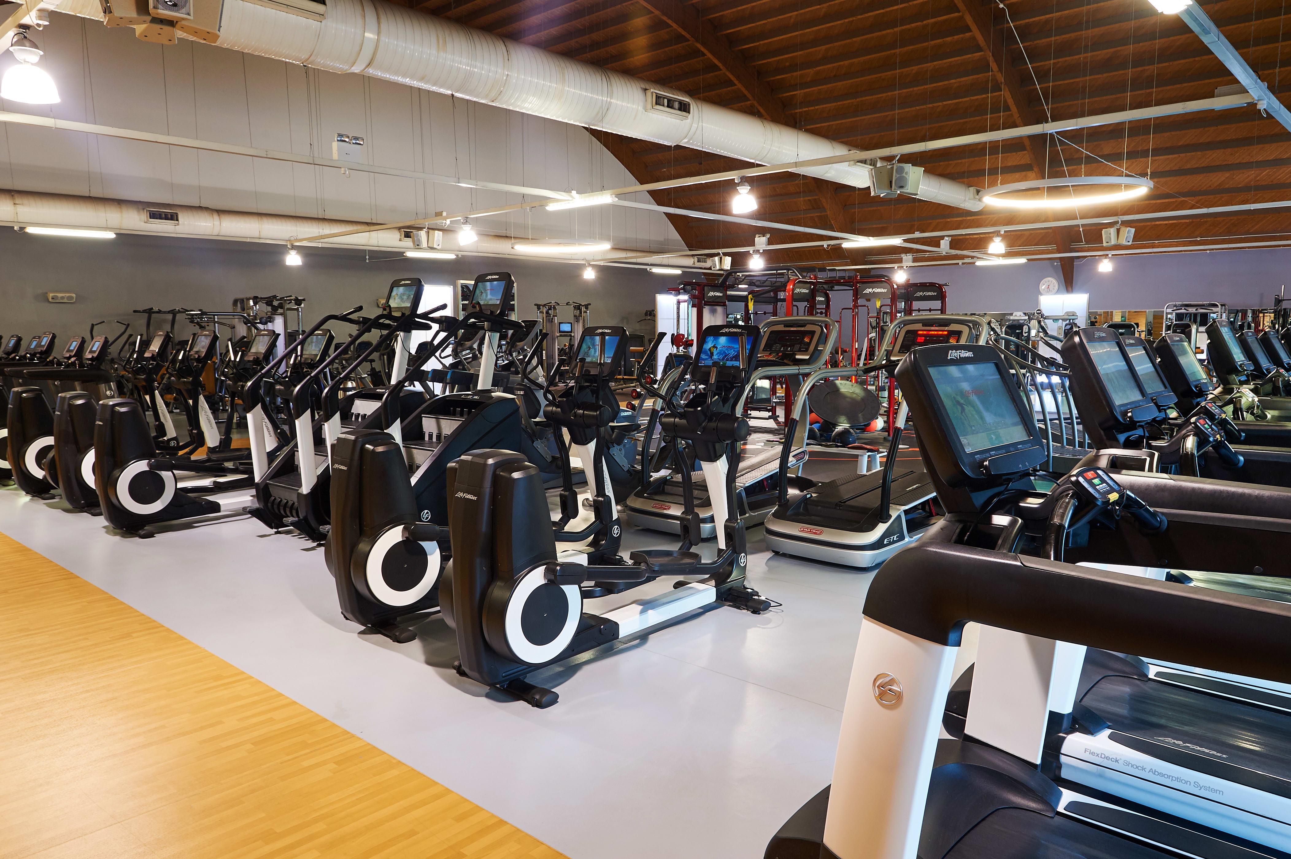 Indoor cycling bikes and treadmills at David Lloyd Heston