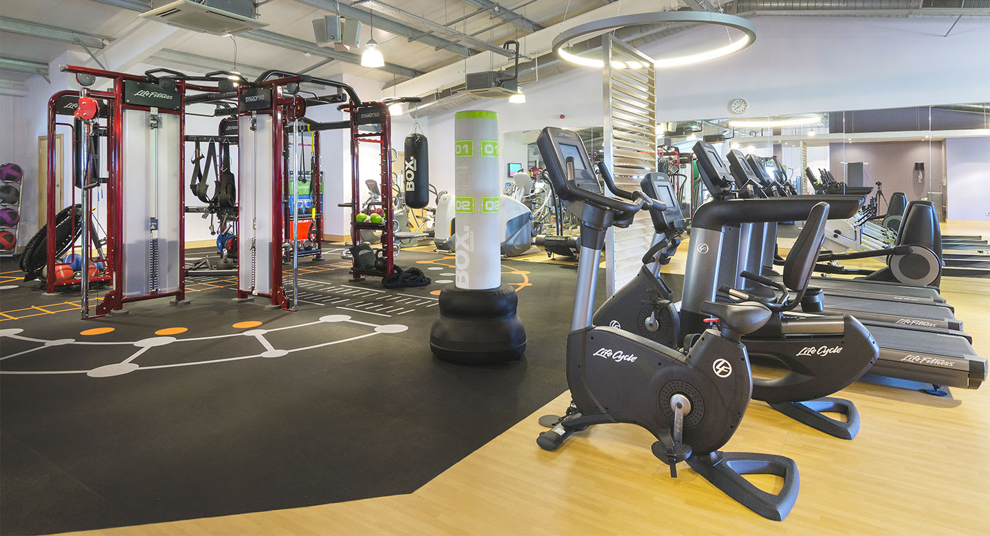 A spread of the state of the art gym equipment