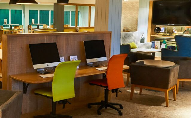 Our relaxing social space, fully-equipped with widescreen TVs and internet access