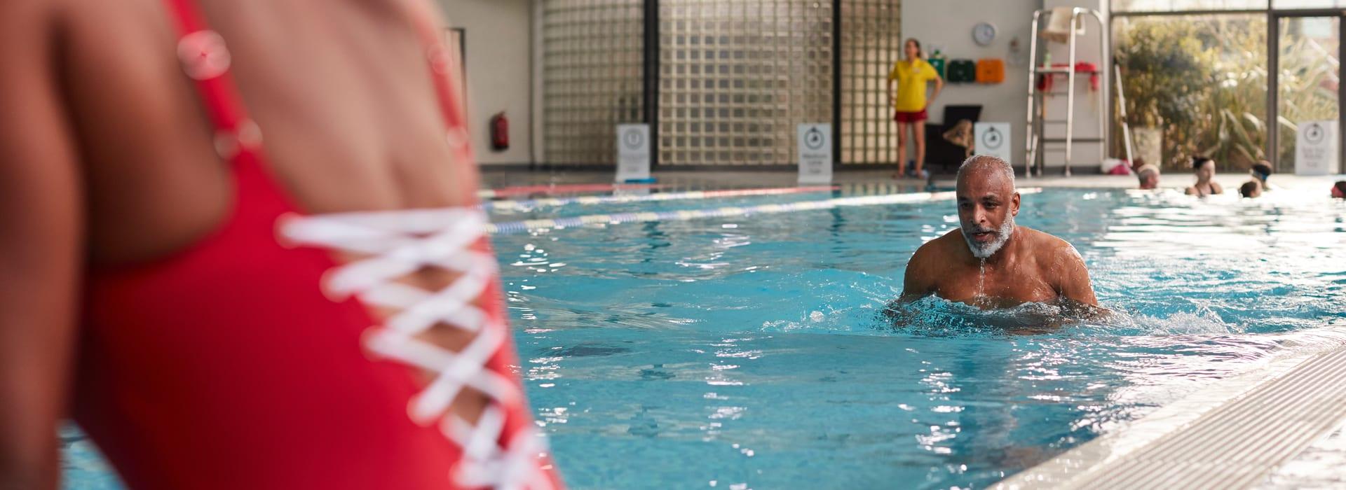 Enjoying a swim in the indoor pool