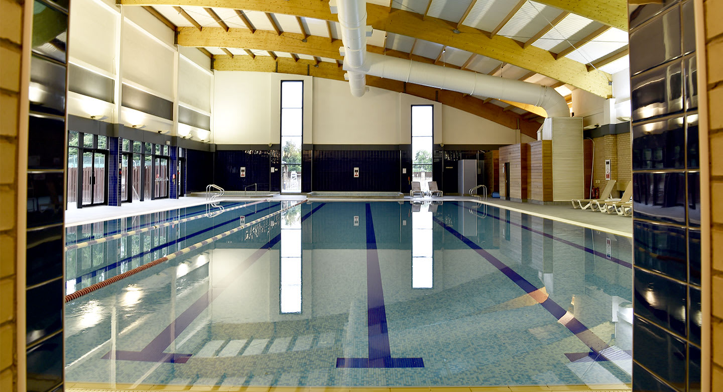 The clear blue lanes of the pool