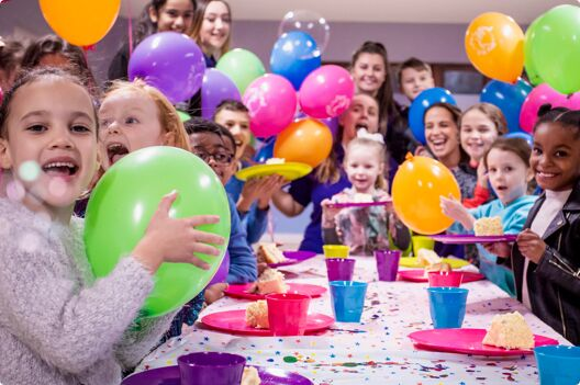 A group of children enjoy a birthday party