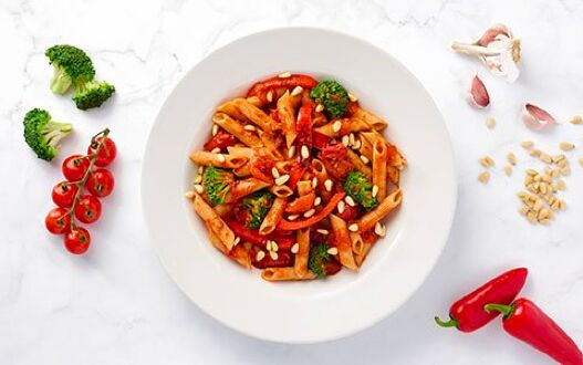 A delicious dish of penne arrabbiata