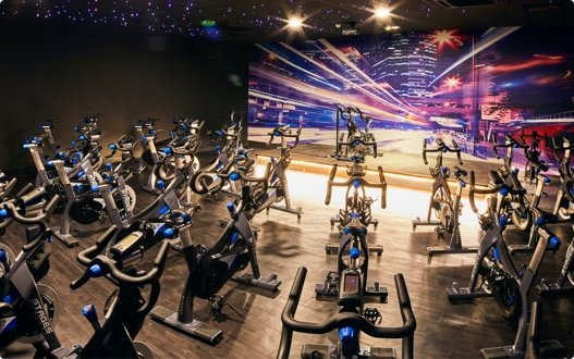 A David Lloyd group cycling studio