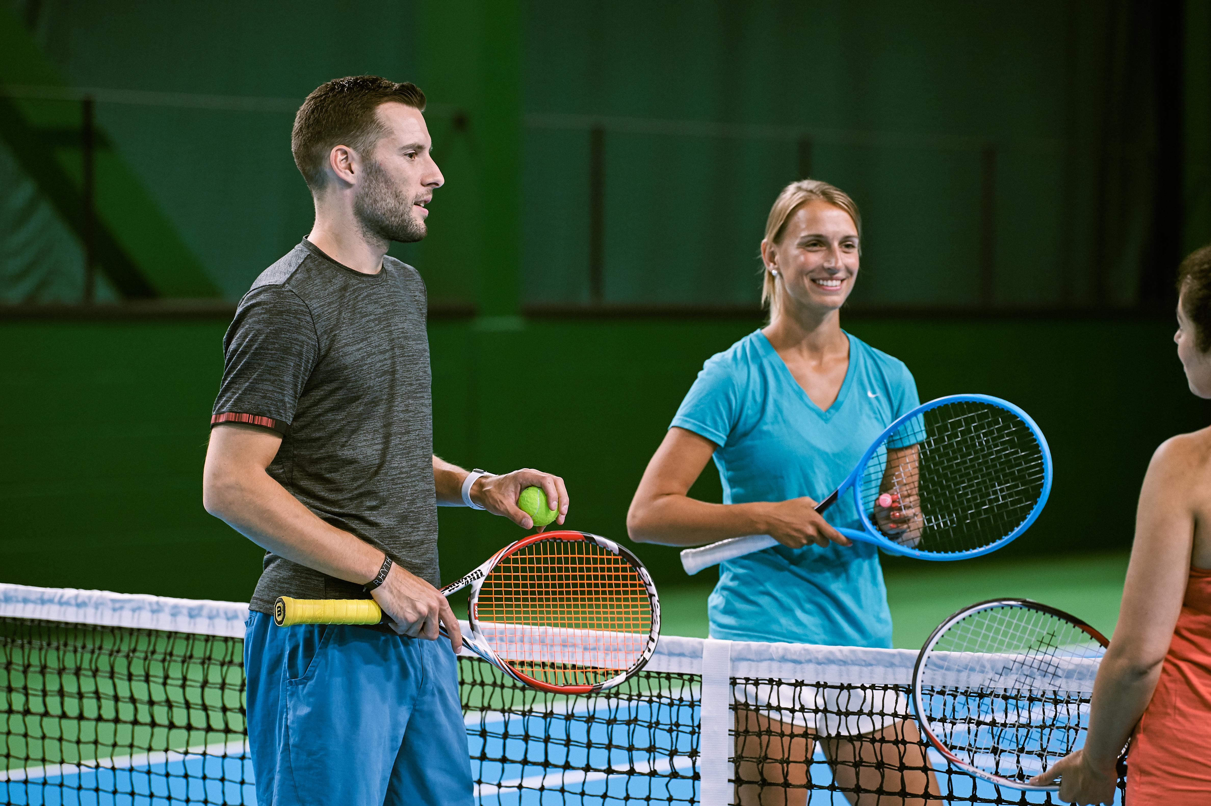 A man playing tennis