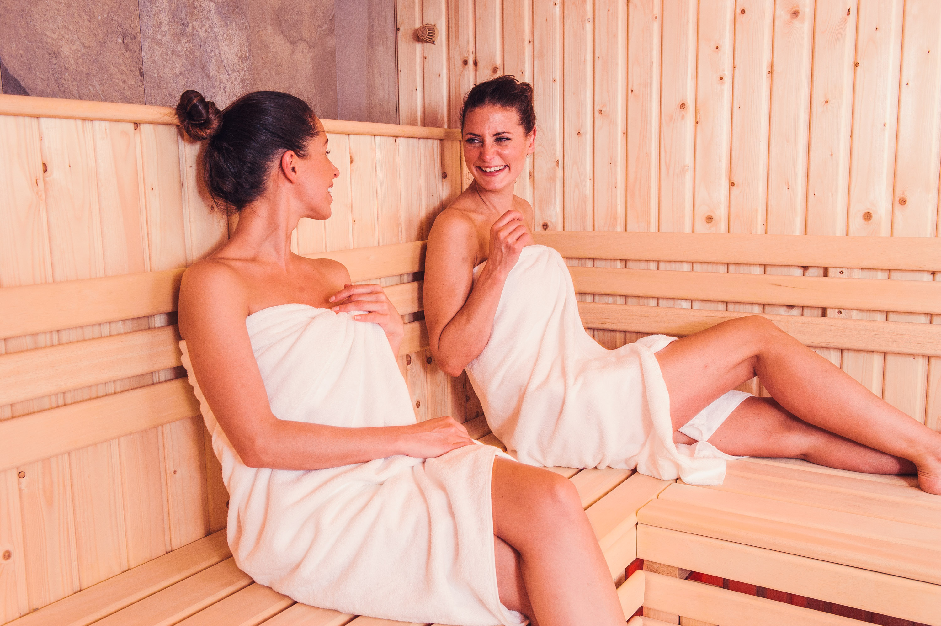 Friends relaxing in the sauna