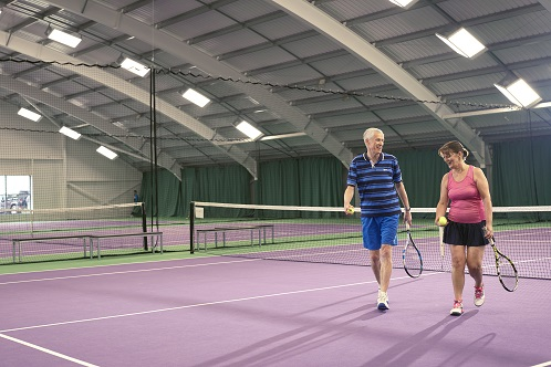 A large indoor tennis court