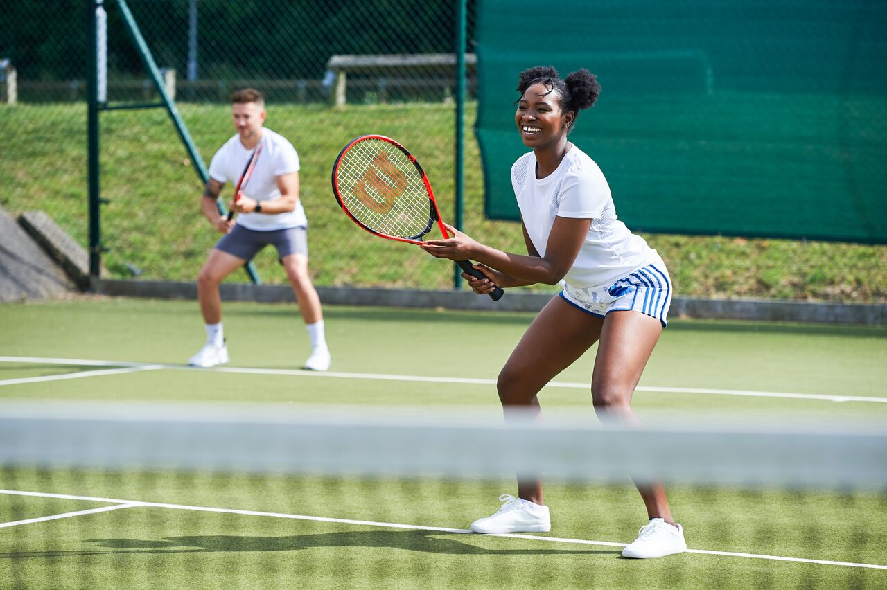 A staff member working with a member
